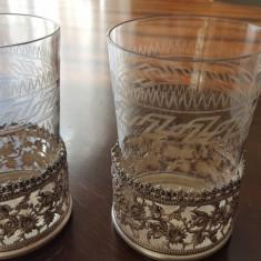 Doua superbe pahare cristal Baccarat in suporturi argintate