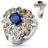 Inel masiv din oțel 316L, floare mare, bicoloră, zirconiu oval, albastru închis - Inel argint