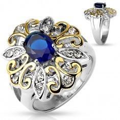 Inel masiv din oțel 316L, floare mare, bicoloră, zirconiu oval, albastru închis