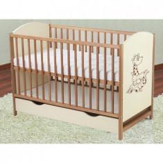 Patut Din Lemn Bear - Patut lemn pentru bebelusi, Maro