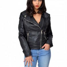Jacheta dama neagra din piele cu fermoare - captuseala, Marime: XS
