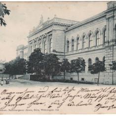 Romania, Arad carte postala circulata 1899: Gimnaziul, animat - Carte Postala Crisana pana la 1904, Fotografie