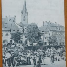 Sibiu , Hermannstadt , Nagyszeben , Piata , necirculata , inceput de secol 20, Printata