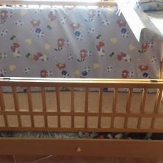 Patut copii din lemn, cu lada - Patut lemn pentru bebelusi Baby Design, 120x60cm