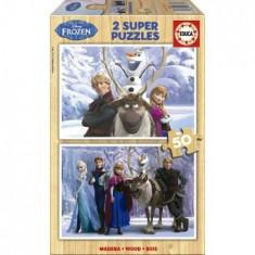 Puzzle Educa din Lemn Frozen, 2x50 piese
