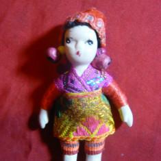Papusica din portelan -in Costum Popular Oriental, h=7 cm, maini, picioare mobil - Papusa de colectie
