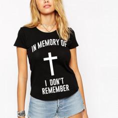 Tricou dama negru - In memory, Marime: S, M, L, XL, Maneca scurta