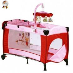 Patut Pliant Cu 2 Nivele Si Mini Carusel Sleeper Deluxe Roz - Patut pliant bebelusi BabyGo