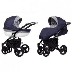 Carucior 3 in 1 Kunert Mila Black Blue Lace - Carucior copii 3 in 1