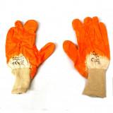 Manusi de protectie BestAutoVest din bumbac alb + portocaliu
