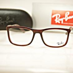 Rama de ochelari de vedere Ray Ban RB7029 5002 - Rama ochelari Ray Ban, Barbati, Maro, Dreptunghiulare, Plastic, Rama intreaga