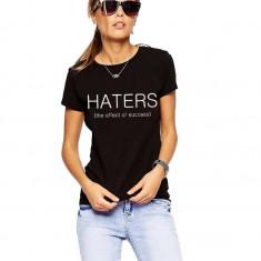 Tricou dama negru - HATERS, Marime: S, M, L, XL, Maneca scurta
