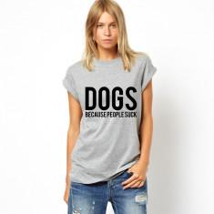 Tricou dama gri - DOGS, Marime: S, M, L, XL, Maneca scurta