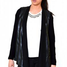 Bluza dama neagra ONE - Insertii piele, Marime: M, Maneca lunga, Negru, Bumbac