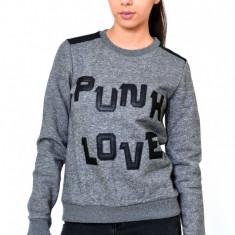Bluza Dama Punk Love, Marime: S, L, Maneca lunga, Gri