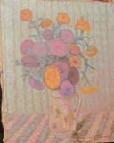 """PVM - Tablou vechi """"Vas cu Flori Colorate"""" ulei pe panza semnat VUCOVICI, Peisaje, Realism"""
