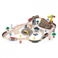 Trenulet Kidkraft din lemn Bucket Top Construction cu set de accesorii