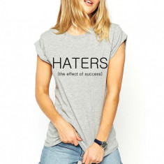 Tricou dama gri - HATERS, Marime: S, M, L, XL, Maneca scurta