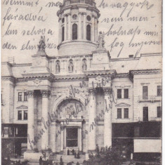 #1834- Romania, Arad cp. mai veche, circulata 1906: Biserica Minorita, animat - Carte Postala Crisana pana la 1904, Fotografie
