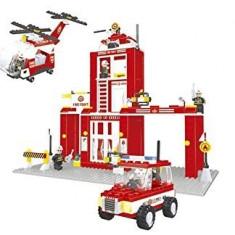 MEGA JOC CONSTRUCTIE tip LEGO STATIE DE POMPIERI. 505 PIESE.CADOUL MINUNAT.