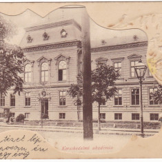 Romania, Arad cp. embosata stilizata circulata 1900: Academia Comerciala - Carte Postala Crisana pana la 1904, Fotografie
