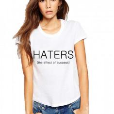Tricou dama alb - HATERS, Marime: S, M, L, XL, Maneca scurta
