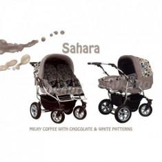 Carucior pentru Gemeni Mikado Duet Sahara - Carucior Gemeni