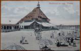 Mamaia , Pavilionul cu plaja , circulata , 1908 , intre 2 membri ai fam. P. Carp, Fotografie, Iasi