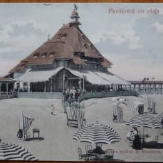 Mamaia , Pavilionul cu plaja , circulata , 1908 , intre 2 membri ai fam. P. Carp