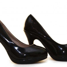 Pantofi dama negri cu platforma - toc 10 cm, model Sunshine - Pantof dama, Marime: 38