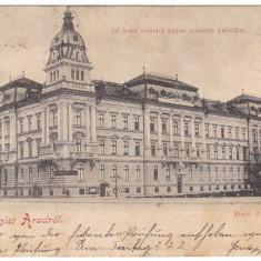 #1832- Romania, salutari Arad carte post. circulata 1899: Palatul Cailor Ferate - Carte Postala Crisana pana la 1904, Fotografie