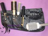 Set kit frizerie coafor cu perii ceramice ioni profesionale si brau sort borseta