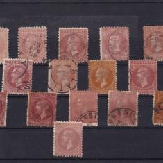 ROMANIA 1876/79, CAROL I BUC. VAL. 5 B CU DIFERITE NUANTE VARIETATE DANTELURA - Timbre Romania, Stampilat