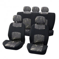 Huse scaune Dacia Logan Sedan set huse auto fata si spate Classic negru/gri - Husa scaun auto