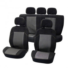 Huse scaune Dacia Logan Sedan set huse auto fata si spate Suede Black negru cu gri - Husa scaun auto