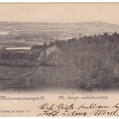 #1844- Romania, salutari Maramarossziget, Sighet cp. circulata 1903: Panorama - Carte Postala Maramures pana la 1904, Fotografie, Sighetu Marmatiei
