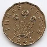 "Marea Britanie 3 Pence 1944 - George VI (with ""IND:IMP"") JM1, 21.8 mm KM-849, Europa"
