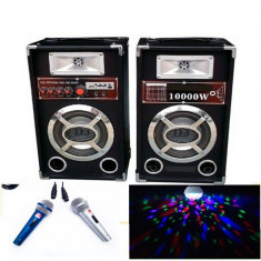 PROMOTIE BLACK FRIDAY!SISTEM KARAOKE BOXE ACTIVE, MIXER, MP3 USB, MICROFOANE+LUMINA - Echipament karaoke
