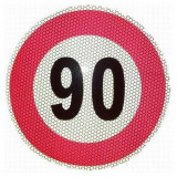 Indicator limita de viteza 90 km, autocolant fi 210mm