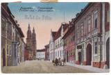 #1852- Romania, salut. Nagyszeben, Sibiu cp. circ. 1921: Str. Fleischer, animat