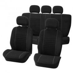 Huse scaune Dacia Logan Sedan set huse auto fata si spate Value gri cu negru - Husa scaun auto