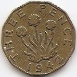 "Marea Britanie 3 Pence 1942 - George VI (with ""IND:IMP"") JM1, 21.8 mm KM-849, Europa"