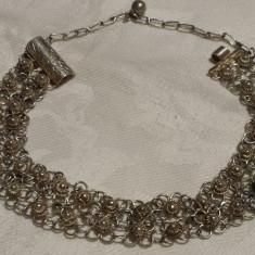 Bratara argint art deco Franta 1930 model floral inlantuit pe zale pe 2 randuri
