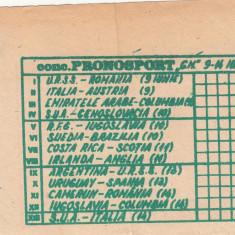 Bilet concurs PRONOSPORT CM Italia 1990, 9-14 iunie