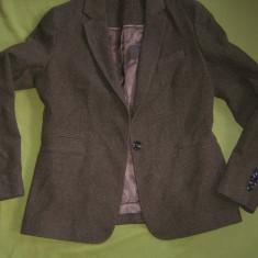 Sacou MASSIMO DUTTI divizia de lux, lana cu piele, marime italiana 44 MEGAPRET - Sacou dama, Culoare: Din imagine