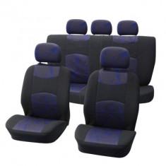 Huse scaune Seat Altea set huse auto fata si spate Carpoint Classic, 9 buc. Negru si Albastru - Husa scaun auto