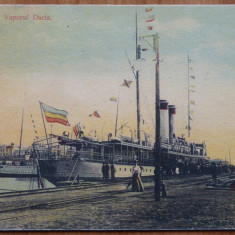 Constanta ; Vaporul Dacia, color, inceput de secol 20, necirculata - Carte Postala Dobrogea pana la 1904, Printata