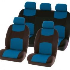 Huse scaune Dacia Logan Sedan set huse auto fata si spate Chicago Blue - Husa scaun auto