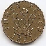 "Marea Britanie 3 Pence 1937 - George VI (with ""IND:IMP"") JM1, 21.8 mm KM-849, Europa"