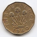 "Marea Britanie 3 Pence 1940 - George VI (with ""IND:IMP"") JM1, 21.8 mm KM-849, Europa"
